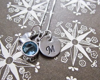 Tiny Sterling Silver Love Heart Charm Necklace - Mini Hand Stamped Initial And Swarovski Crystal Birthstone