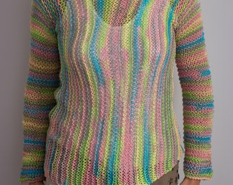 Hand knitted summer sweater with two needles.