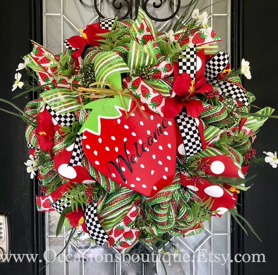 Whimsical Strawberry Summer Wreath