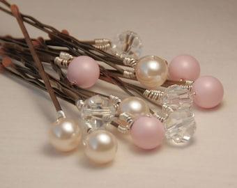 Blush épingles à cheveux perle, perles Pastel de roses et ivoire avec des cristaux clairs sur des tiges Bronze, lot de 12 Blush épingle à cheveux ensemble, épingle à cheveux Rose, 8 mm