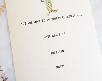 Mermaid Fill in the Blank Invitations