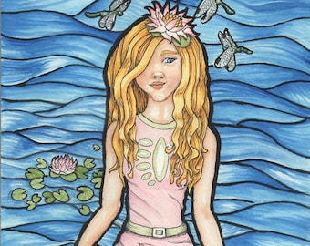 Girl With Water Lily And Dragonflies Standing in Water - Art Print - Watercolor Painting - SALE