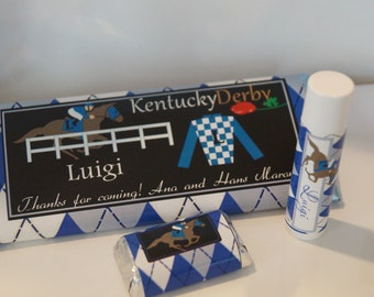 Kentucky Derby party favors, pink and green woman or blue men horse race argyle, custom and personalized Kentucky Derby party. Set of 100.