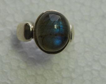 blue fire labradorite sterling silver ring size 9