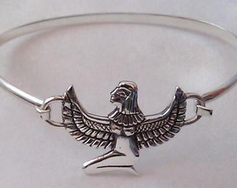 Sterling Silver Isis Egyptian Goddess Bangle Goddess Isis Bangle