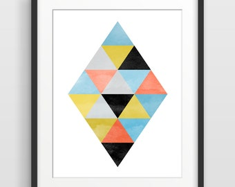 Geometric Art Print, Abstract Watercolor Art, Scandinavian Print, Mid Century Modern Wall Art, Minimalist Poster