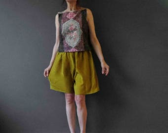 80s Silk Mustard Shorts Small