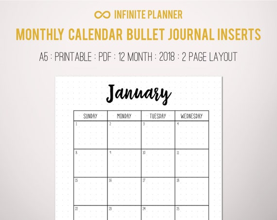 Monthly Calendar  Bullet Journal Printable