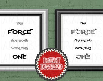Printable Darth Vader Quote Star Wars Gift Instant Download Happy Birthday Wall Art Home Decor Gift for Best Friend The Force 3012IDD