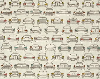 Car Headlamps on Cream From Birch Organic Fabric's Trans-Pacific Collection by Jay-Cyn Designs