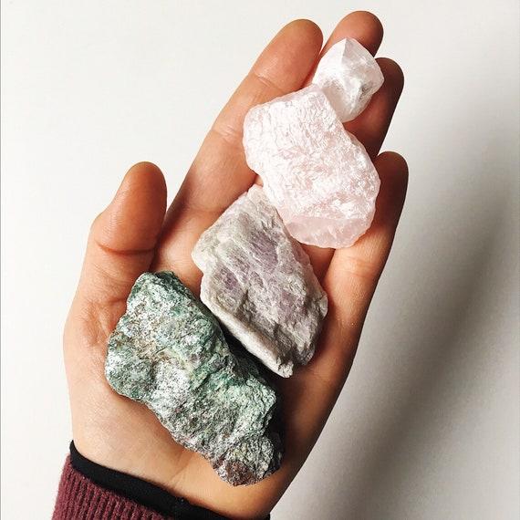 Mixed Raw Crystal Parcel - Green Fuchsite, Kunzite, Rose Quartz, Danburite