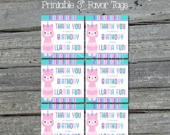 Llamacorn Favor Tags | Llamacorn Party Printables | Digital Download | Printable 3 inch tags | Instant Download | Birthday Llama