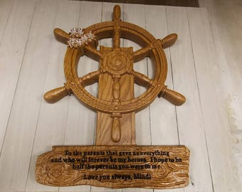 Carved Ship Wheel with Personalized Sign, Custom Wooden Signs, Wood Carving, Wall Hanging, Gift for Sailors, Coastal Decor, Anniversary Gift