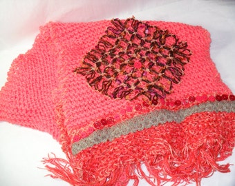 Multi Media Decorated Scarf/Shawl