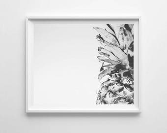Pineapple Print, Black White Pineapple Photography, Black White Pineapple, Tropical Print, Pineapple Wall Art, Large Poster