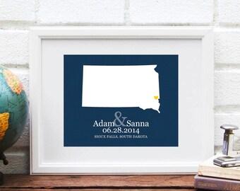 Personalized Wedding Gift, South Dakota  State Map Art Print, Custom Wedding Gift, Bridal Shower Gift, Dakota Bride, Shower Gift