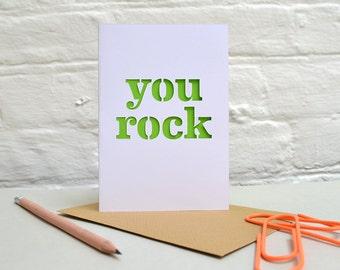 You Rock Papercut Card/Birthday/Anniversary/Rocker/Alternative/Valentine's/Colour Pop/Colourful/Metallic/For A Friend/Thank You