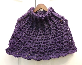 Crochet, Plum Capelet, Poncho
