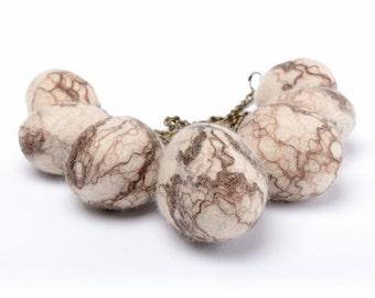 Zen necklace made of felted stones - natural felt stone necklace - designer wool fiber necklace in zen style with unique felt stones [N8]