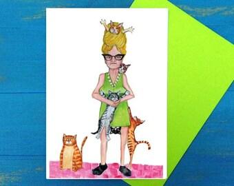 That crazy cat lady birthday greeting card