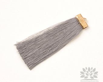 T021-GY// Gray Rayon with Gold Plated Flat Rectangle Cap Tassel Pendant, 2pcs, 65mm