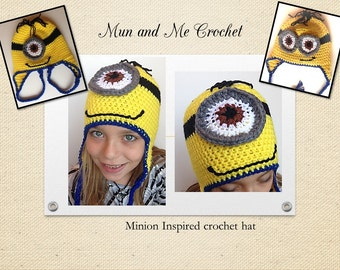 Minion Inspired Crochet hat, Minion earflap crochet hats, costume for kids, Halloween hats, children costumes, gift for children
