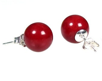 10mm Italian Red Coral Ball Stud Post Earrings 925 Sterling Silver, Natural Italian Red Coral