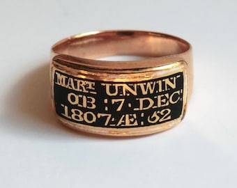 SOLD ON LAYAWAY for Christine 1st Payment Georgian Gold Black Enamel Mourning Ring  Died Dec 7, 1807 at Age 52