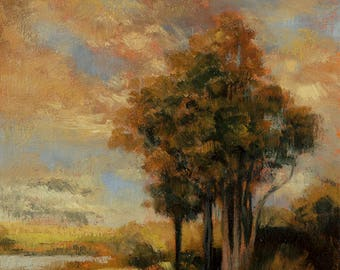 Golden Dusk Original 5x7 Oil Painting by M Francis McCarthy