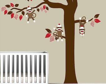 Nursery Vinyl Wall Decal tree with sock monkeys-wall decals-e54