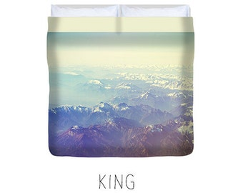 Mountain duvet, mountain bedding, blue and white duvet, king, queen, double, twin, mountain decor, blue and white bedroom, mountain bedroom