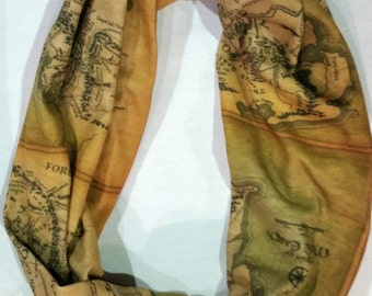 Lord of the Rings Map of Middle Earth scarf...Infinity Scarf...LOTR gift