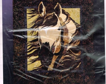 Horse Head Wall Hanging Quilt Sewing Pattern - Wild Horse Animal Quilt Pattern - Spring Storm - Bigfork Bay