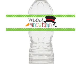 bottle wrapper snowman christmas winter digital printable - Melted Snowman Digital Printable Bottle Wrappers