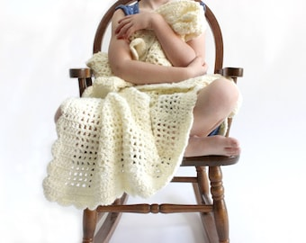 Hand Knit Baby Blanket, Cream Colored Wool Blanket