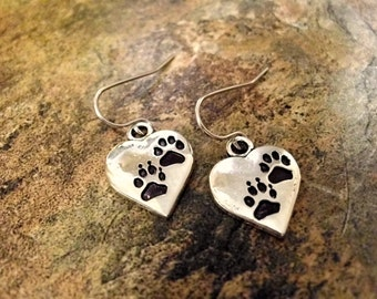 Paw Print Earrings, Paw Print Jewelry Set, Animal Lover Jewelry, Paw Jewelry, Pet Jewelry