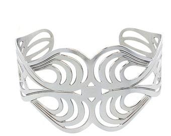 """Women 44MM Stainless Steel Konts Loop Patterned Cuff Bangle Bracelet 7.5""""(ct603bss)"""