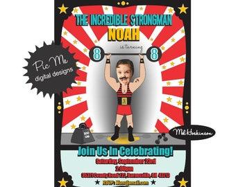 Strongman Birthday Invitation, Strongman Photo Birthday Invitation, Custom Strongman Birthday Invitation, Strongman Party, Strongman Photo