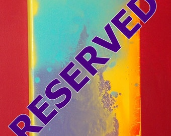 RESERVED********Citron Chrysoprase #2 Crystal Energy Art Abstract Spray Paint 9x12 Painting Stretched Canvas