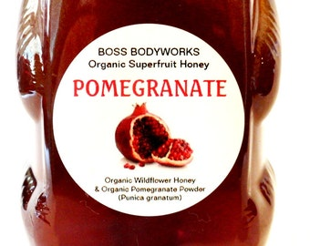 POMEGRANATE Organic Superfruit Honey-12oz- herbal, flavored, infused wildflower honey, non-gmo, kosher, fair trade