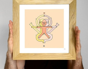 Drawing fusion Super Bourdi 30X30cm. Union of two life-giving. Creation of a baby boy. Ideal birthday gift!