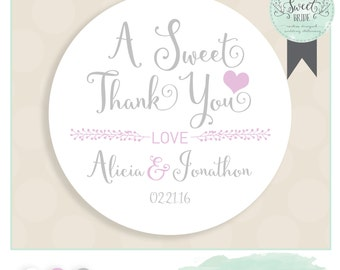 "personalized wedding label. Comes in Color of Choice. Size 2"" Round. SWEET THANK YOU. Alicia collection in Silver and Purple.  favor sticker"