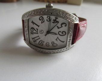 Red Wrist Watch Genuine Red Leather Watch Band George 90s Womens Wrist Watch Vintage Red Leather Alligator Print Leather Valentine jewelry