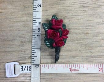Vintage Red Roses Pin Brooch Used
