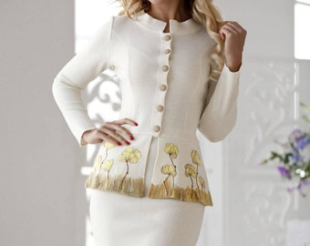 """Knitted women suit """"Queen""""with warm milky color with felted flowers on the peplum"""
