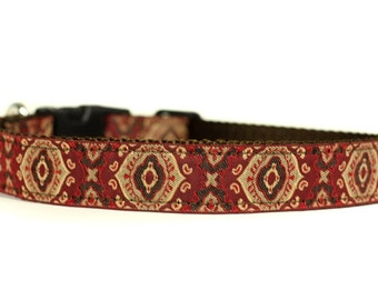 1 Inch Wide Dog Collar with Adjustable Buckle or Martingale in Magnifico