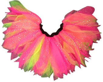 Neon Pink Glitter Diamante Sparkle 6 Layered Tutu Funky Punk Fairy 80's Fancy Dress