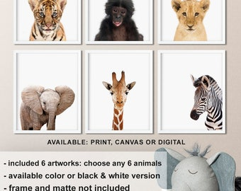 Baby Safari Animal Prints Nursery, Safari Nursery Decor, African Animals Nursery, Zoo animal prints, African baby animals Print/Canvas/Digi