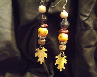 Japanese inspired autumn dangling earrings