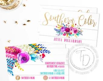 LipSense Business Card Printable, SeneGence Business Card, Shiplap Business Card, Floral Business Card, LipSense Business Card